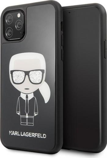 Husa Premium Karl Lagerfeld iPhone 11 Pro Glitter Iconic Karl Head Negru Huse Telefoane