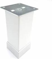 Picior metalic pentru mobilier H 100 mm finisaj alb profil patrat 40x40 mm cu masca