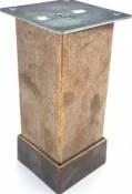 Picior metalic pentru mobilier H 100 mm finisaj auriu antichizat profil patrat 40x40 mm cu masca Accesorii mobilier