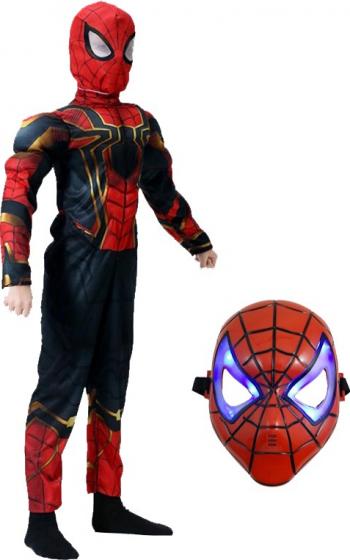 Set costum Iron Spiderman cu muschi Homecoming pentru copii L 7 - 9 ani masca cu lumini inclusa