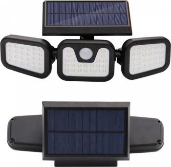 Lampa tripla solara 74 LED cu senzor de miscare Corpuri de iluminat