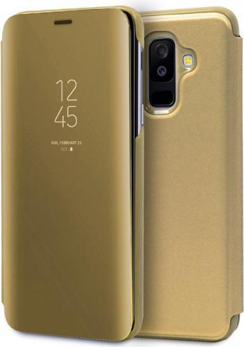 Husa Samsung Galaxy A6+ Plus 2018 - Flip Mirror Tip Carte Gold