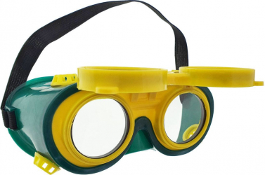 Ochelari de protectie industriali tip masca doua perechi de lentile cu ventilatie indirecta verzi cu galben