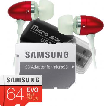 Set 3 produse card Samsung Micro-SDXC 64GB Class 10+ cititor carduri microSD+ casti Akyta in-ear Carduri Memorie