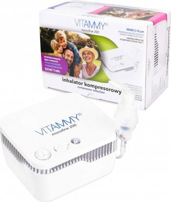 Aparat aerosoli VITAMMY Microfine 200 nebulizator cu compresor masca copii si adulti MMAD 3.16 and mu m Alb Cantare, termometre si aerosoli