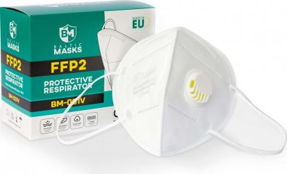 Cutie 10 masti de protectie respiratorie FFP2 cu valva - Baltic Masks BM-001V NR Certificat CE 1463 Masti chirurgicale si reutilizabile