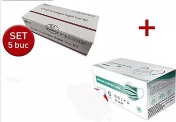Set 5 teste rapide COVID-19 antigen autorizat ANMR + 1 cutie50 buc masti medicale 3 straturi 3 pliuri tip IIR Teste rapide covid anticorpi antigen