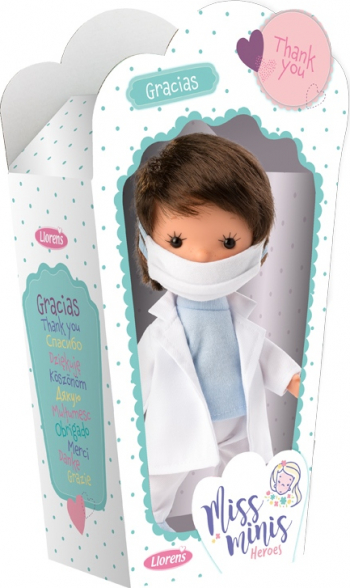 Papusa Llorens Miss Minis editie de colectie dedicata medicilor care lupta impotriva virusului Medical Heroes doctor cu masca de protectie
