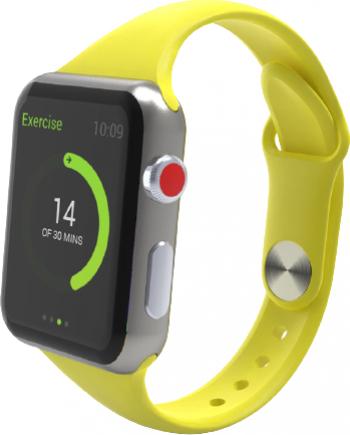 Curea Smart Watch Compatibila cu Apple Watch 1/2/3/4/5 Nike+ Bratara din Silicon Slim 38/40mm Galbena