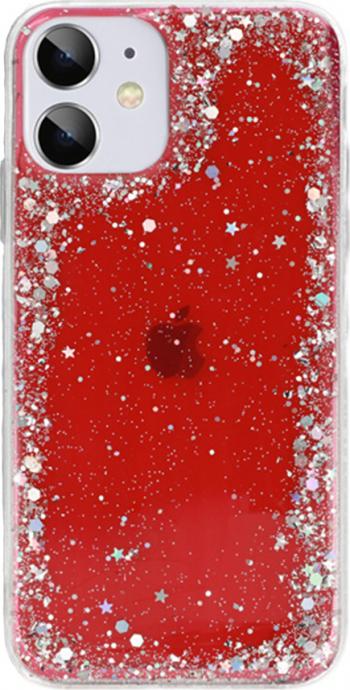 Husa G-Tech Brilliant pentru iPhone 11 Pro Sclipici in forma de stelute Star Glitter Shining 3 straturi protective Rosu Huse Telefoane