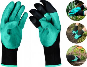Set manusi pentru gradinarit impermeabile universale cu 4 gheare culoare Negru-Verde