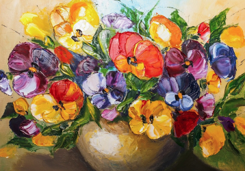 Tablou Canvas Panselute 100 x 70 cm Rama lemn Multicolor Tablouri