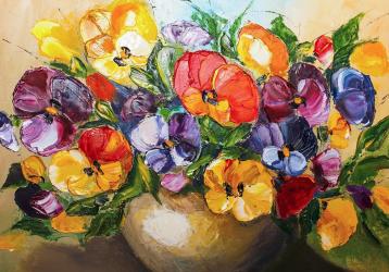 Tablou Canvas Panselute 100 x 70 cm Rama lemn Multicolor