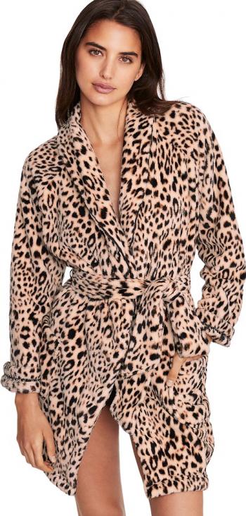 Halat Victorias Secret Logo Short Cozy Champagne Leopard Marime M Halate dama