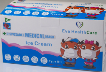 Masca Faciala copii 3 pliuri Tip 2R medicala and ndash model ICE CREAM 50 bucati Masti chirurgicale si reutilizabile