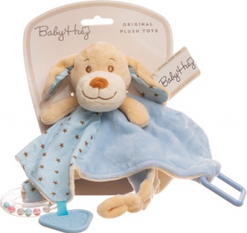 Baby Hug - Catelus bleu cu zornaitoare paturica inel si jucarie dentitie