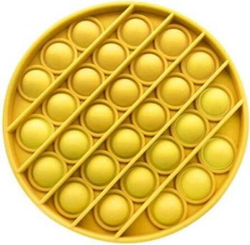 Jucarie antistres din silicon Push Pop Bubble Pop It forma cerc Galben 12x12x1.5cm tqs