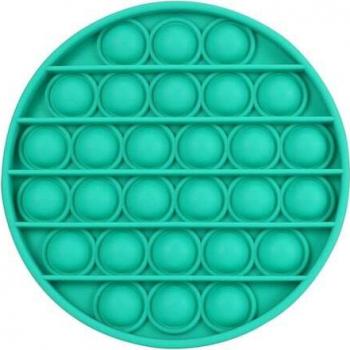 Jucarie antistres din silicon Push Pop Bubble Pop It forma cerc Verde 12x12x1.5cm