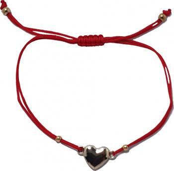 Bratara ajustabila cu snur rosu si pandativ charm tip inima
