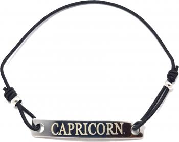 Bratara neagra cu snur ajustabil si placuta gravata cu zodia capricorn