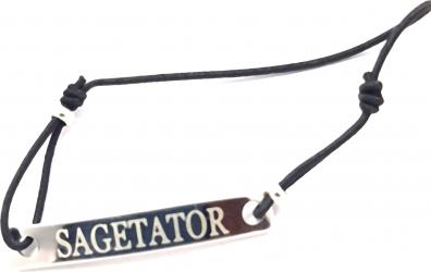 Bratara neagra cu snur ajustabil si placuta gravata cu zodia sagetator