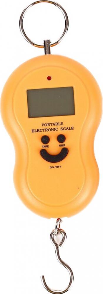 Cantar Electronic de Mana Pescuit cu Carlig 50Kg Ecran LCD Dalimag galben