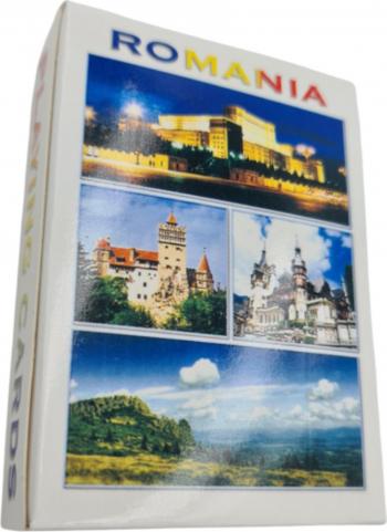 Carti de joc educative cartonate Romania Turistica cu 52 peisaje din Romania castelul Bran castelul Peles Palatul Parlamentului