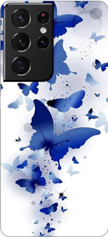 Husa Silicon Soft Upzz Print Compatibila Cu Samsung Galaxy S21 Ultra Model Blue Butterflies