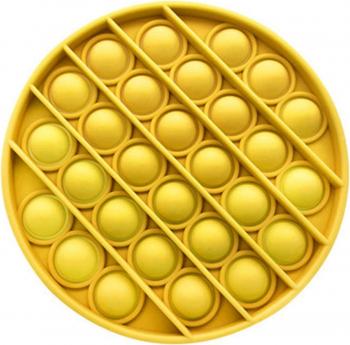 Jucarie senzoriala antistres Pop it now Push Bubble galben 12.5 x 12.5 x 1.5 cm Kendama si jucarii antistres