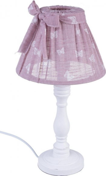 Veioza lemn alb cu abajur roz Mimy and Oslash 22 cm x 40 h Corpuri de iluminat