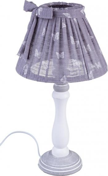 Veioza lemn alb cu abajur violet Mimy and Oslash 22 cm x 40 h Corpuri de iluminat