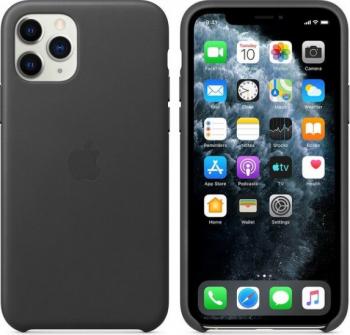 HUSA APPLE IPHONE 11 PRO MAX LEATHER CASE BLACK Huse Telefoane