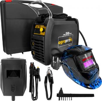 Pachet aparat de sudura profesional AgroPro MMA 150 Edge tip inverter 155A Black Edition Tehnologie IGBT + Masca cu cristale lichide model Aparate de sudura