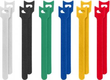 Set 12 Curele din velcro pentru organizarea cablurilor Lanberg 15 cm x 12 mm flexibile multicolore Accesorii