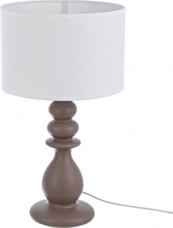 Veioza ceramica maro cu abajur alb Pillar and Oslash 24 cm x 50 h Corpuri de iluminat