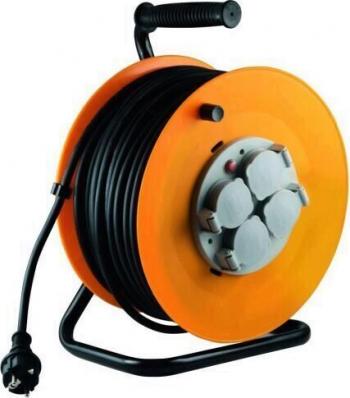 Tambur cablu cadru metalic Home HJR 10-30 4 prize cu impamantare 30m 3x1.5 mmp IP44