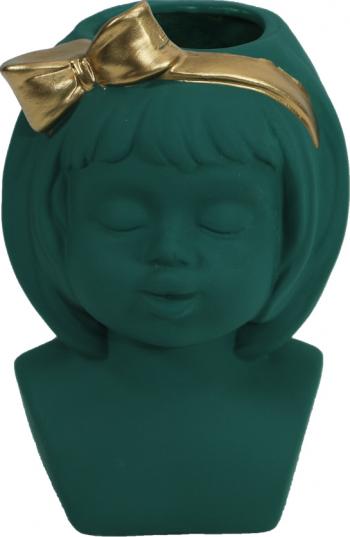 Masca Ghiveci - Vaza ceramica chip de fetita Verde Vaze si Boluri decorative