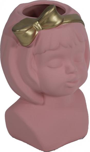 Vaza - Masca Ghiveci ceramic chip de fetita cu fundita Roz Vaze si Boluri decorative