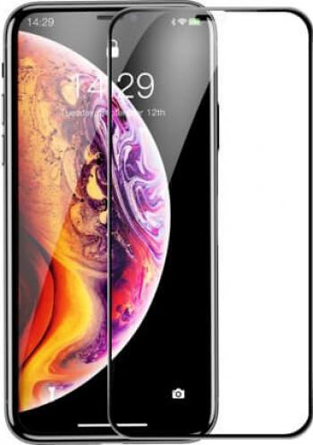 Folie iPhone 11 Pro Max iPhone XS Max Sticla Securiza 3D cu Rama Rigida Extra-Rezistenta 0 3 mm Negru