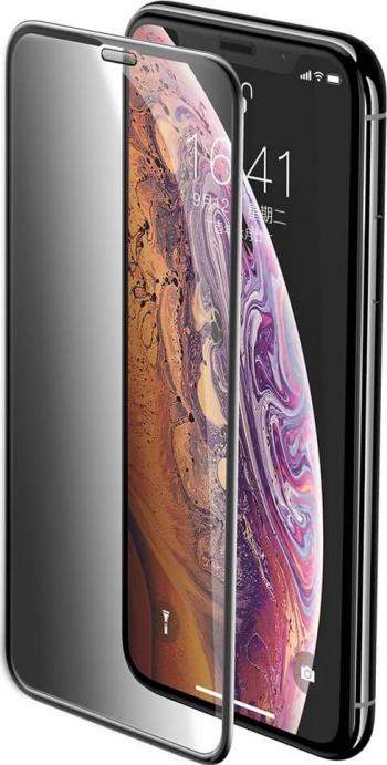 Folie iPhone 11 Pro Max  iPhone XS Max Sticla Securizata 3D Full Screen Anti-Spy Protectie Praf Difuzor Baseus Negru Folii Protectie