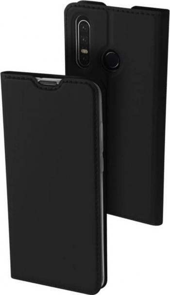 Husa Huawei P30 Lite Flip / Book Stand si Buzunar Card DUX DUCIS Piele Negru