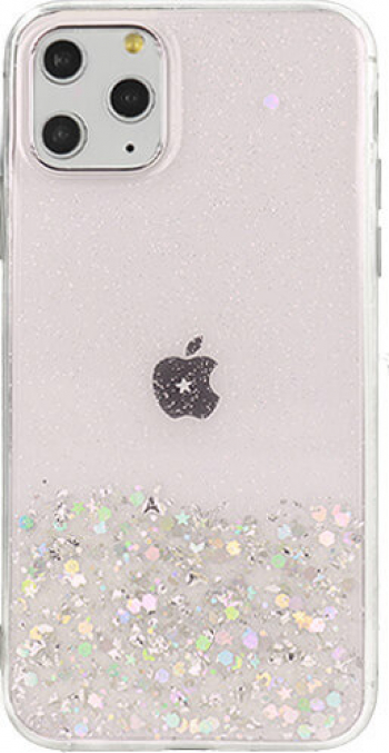 Husa iPhone 11 Pro Brilliant Clear Star Glitter Shining Roz Huse Telefoane
