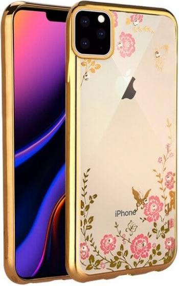 Husa iPhone 11 Pro Desen Flori  Floral  Gold Huse Telefoane