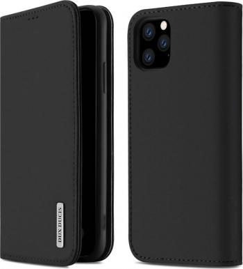 Husa iPhone 11 Pro Max Piele Naturala Flip  Book Stand si Buzunar Card DUX DUCIS Wish Negru Huse Telefoane