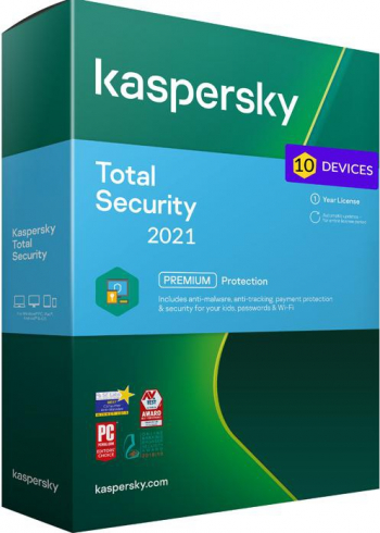 Kaspersky Total Security 2021 10 Dispozitive /1 An - windwos/mac/ios/android Antivirus