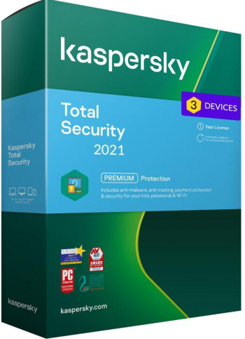 Kaspersky Total Security 2021 - 3 Dispozitive /1 An - windwos/mac/ios/android Antivirus