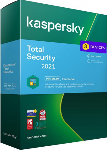 Kaspersky Total Security 2021 3 Dispozitive / 2 Ani - windwos/mac/ios/android Antivirus
