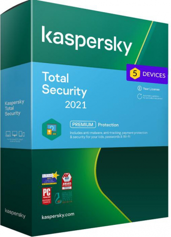 Kaspersky Total Security 2021 5 Dispozitive /2 Ani - windwos/mac/ios/android Antivirus