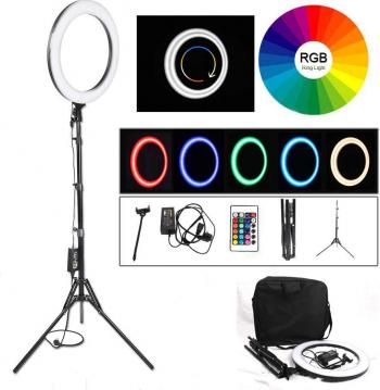 Lampa Circulara Make up Profesionala cu LED RGB Ring Light 46 CM 19 culori Lumina Rece/Calda Trepied 180cm Adaptor Telecomanda Geanta