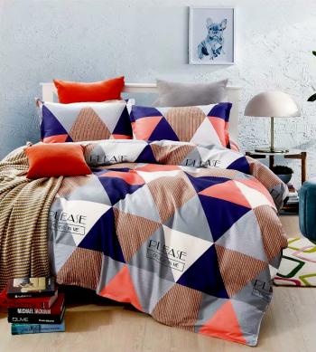 Lenjerie de pat pentru o persoana cu husa de perna patrata Arizona bumbac mercerizat multicolor Lenjerii de pat